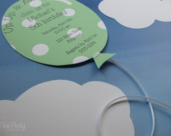 Balloon Party Custom Invitations - Up, Up, and Away Collection from Tea Party Designs