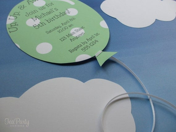 Balloon Birthday Party Custom Invitations - Up, Up, and Away Collection