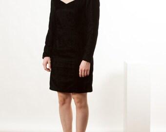 Long Sleeve Black Dress / Empire Waist Midi Dress / Velvet Short Dress