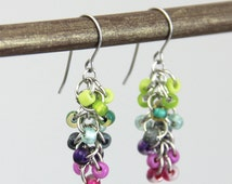 Fairy Cluster Earrings - Small Beaded Dangle Earrings - Colorful Purple Pink Magenta Lime Green Teal Cute Multi Color Rainbow