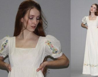 Vintage 1960s Pastel Floral Ivory Embroidered Mexican Wedding Maxi Dress -  Floral Maxi Dress - Floral Wedding Dress  - WD0599