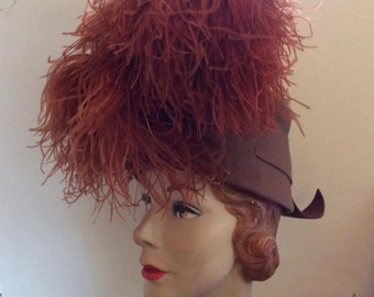 Vintage 1930s 1940s Hat Brown With Ostrich Plumes Fabulous & Unique Style LESLIE JAMES-California Sold At: T.A. Chapman-Milwaukee