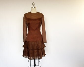 Vintage 1960s Dress / Mod Dress / Mini Dress Chiffon Dress / Sheer Illusion Dress / Brown Dress / Leslie Fay Dress Party Dress