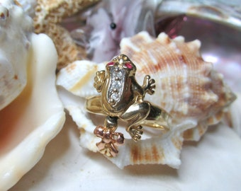 14k Frog Ring w Ruby eyes 3.80g Movable 3D Articulated Size 6