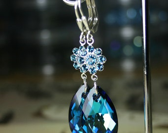 Blue Crystal Earrings - Long Swarovski Crystal Teardrop Earrings in Bermuda Blue - Sapphire Crystal Drops - Sterling Silver Leverbacks