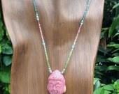 Watermelon Tourmaline Beaded Necklace,Gemstone Buddha Necklace,Carved Sardonyx Buddha Pendant,Yoga,Chakra Necklace,Birthstone Necklace