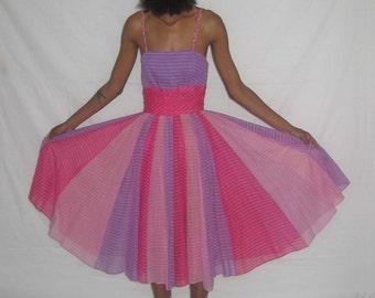 Vintage Adde II California Designed By Hal Lauderman Multicolor Stripe Braid Strap Shirred Pleated Gored Flared Skirt Sheer Gauze Dress Sz 4