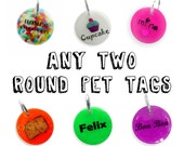 ANY TWO Pet ID Tags Bundle - Round Personalized Pet Name Tag - Glow in the Dark - Colorful Glitter Sprinkles Pet Collar Accessory - Set Pack