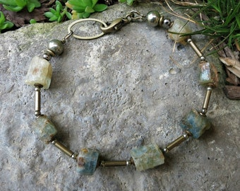 Rough Aquamarine Bracelet, rustic Bohemian bracelet with raw blue green and gray crystals, March birthstone jewelry