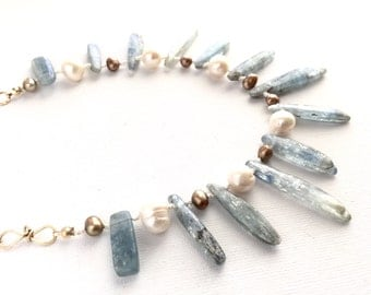 Kyanite and Pearl Ocean Necklace Silk Knotted