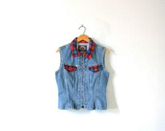 Vintage 90's grunge denim vest with plaid trim, jean vest, size small / medium