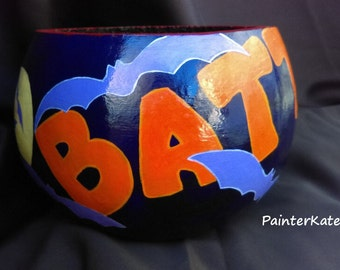 """Decorative Halloween Gourd, Hand Painted Gourd Bowl, Halloween Candy Dish, """"Let's Go Batty"""""""