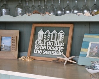 Beside The Seaside Papercut / Limited Edition Beside The Seaside / Beach hut Artwork / Seaside Art / Beach House Frame