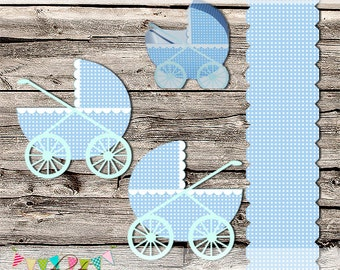 Baby Carriage - Stroller - Buggy - Baby Shower -  Party Favor Boxes - DIY - Printable - Digital File