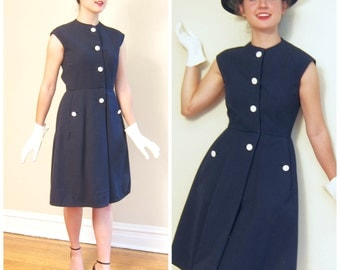 Vintage 1960s Bonwit Teller Sleeveless Dress / 60s Navy Blue Shift with White Buttons