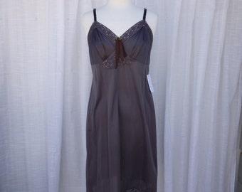 Slip Dress 38/40 L/XL Espresso Brown Glam Garb Handmade USA Romantic Nightgown Victorian Steam-punk Vintage Hand Dyed Rockabilly Boho Hippie