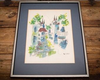 Catriel Efrony Artwork, Signed Ink & Watercolor Painting, Vintage Art