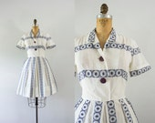 1950s Mediterranean Muse cotton day dress / 50s circle beauty