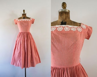 1950s Afternoon Picnic gingham cotton dress / 50s rhinestone beauty