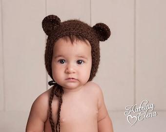 Baby Bear Bonnet/ 6 to 12 Month Bear Bonnet/ Brown Bear Hat/ Baby Boy Hat/ Baby Girl Hat/ Gender Neutral Hat/ Sitter Size Prop