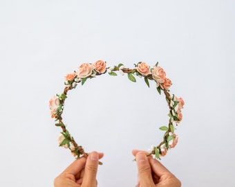 garden wedding floral hair wreath // peach orange flower crown, wedding headpiece, bridal party shower, woodland whimsical nature