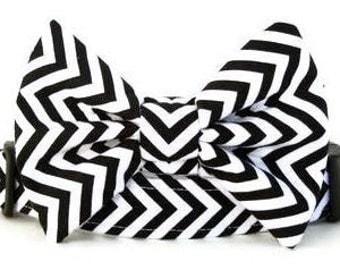 Chevron Bow Tie Dog Collar - Black and White