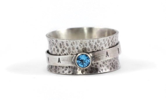 "Abracadabra ""Create As I Say"" Swiss Blue Topaz Gemstone Spinner Ring - Sterling Silver - Unique, Handcrafted, Creative Inspiration"
