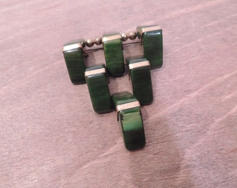 Large Bakelite Spinach Green Hinged Triangle Pin 1940-1950's