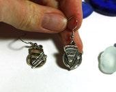 Silver Pie Charm Earrings