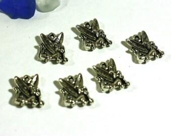 6 garden fairie fairy charms silver alloy