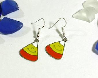 Halloween Candy Corn Charm Earrings in Orange, White, and Yellow