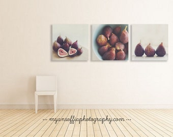 kitchen prints, fig photo, kitchen wall art, purple decor, cafe art, restaurant art print, food photography, rustic picture, set of 3 prints