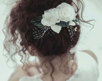 Rustic Bridal Hair Comb, Rustic Hair Accessories, Wedding Hair Comb, Rustic Wedding Hairpiece