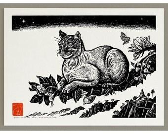 Golden Cat (aka the Fire Tiger) - Handmade Letterpress Print