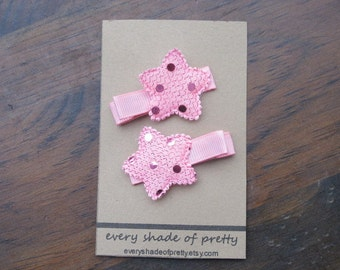 Pink Sequin Star Hair Clips--Sparkle clips--girls clips--Pink Stars-Piggy Tail Clips--Toddler Clips