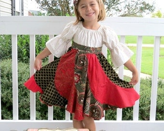 Christmas Dress, Peasant Dress, Toddler Dress, Girls Dress, Twirl Dress, Girls Christmas Dress, Christmas Outfit, Holiday Dress