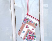 Vintage Hanky Stocking Hankie Stocking Christmas Holiday Decoration Ornament
