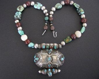 Antique Tibetan Gau, Buddhist Silver (80%)  Ghau, Prayer Box Necklace, Tibetan Heirloom Turquoise, Translucent Giant Clam,Bodhi Seed,84Grams