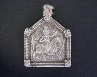 Vintage Indian Amulet, Bhumiya Raj Pendant , Ethnic Tribal, High Grade Silver,  Rajasthan, India, 12.2 Grams