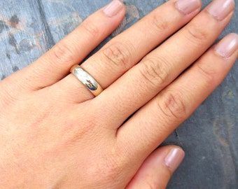 Thin White Gold Ring, White Gold Band, 14 kt, Comfort Fit, Size 5, 5mm, White Gold Wedding Band, Promise Ring, Stacking Ring, Stackable Band