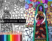 Angel coloring, Mexican Folk Art book, Virgin of Guadalupe , coloring pages, adult coloring pages, coloring book for adults, printable art