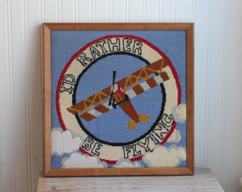 Framed Biplane Needlepoint - Id Rather Be Flying, Retro Pilot Art, Man Cave Decor, Airplane Bi Plane Wall Art, Red White and Blue