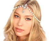 Pearl Chain Headpiece / Bridal Pearl Headpiece / Gatsby Headpiece / Crystal Chain Headpiece / Kristin Perry