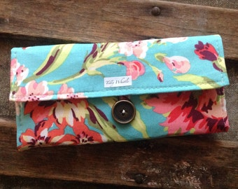 Handmade Wallet - Womens Wallet - Vegan Wallet - Turquoise and Coral Floral With Zipper Pocket, Ready to ship