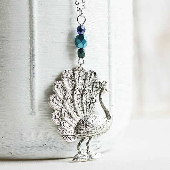 Peacock Necklace - Antiqued Silver Plated Peacock Pendant with Silver Plated Chain, Long Necklace, Bird Pendant, Trendy Jewelry