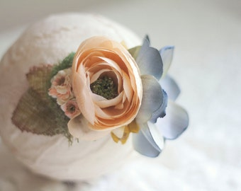 3 - 18 months - Rustic Lace Headband with Blue and Peach Flowers and Neutral Accents - Photography Prop