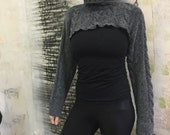 Charcoal Turtleneck Crop Sweater / Cropped Sweater Shrug / Half Sweater / Turtleneck