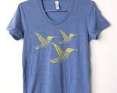 Yellow Hummingbirds on Heather Blue Women's T-Shirt
