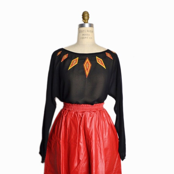 Vintage 70s Sheer Black Diamond Embroidered Blouse - women's small/medium