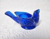 WRIGHT Blue Bird and Berry Open Salt Cellar, COBALT BLUE Vintage Bluebird